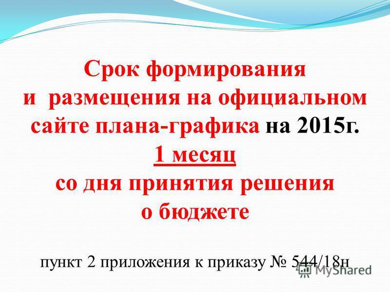 Срок формирования и размещения на официальном сайте плана-графика на 2015 г. 1 месяц со дня принятия решения о бюджете пункт 2 приложения к приказу 544/18 н