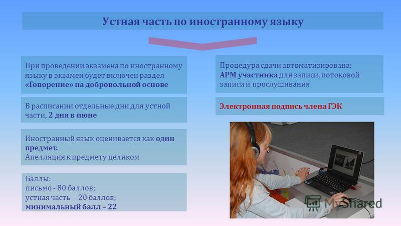 При проведении экзамена по иностранному языку в экзамен будет включен раздел «Говорение» на добровольной основе Иностранный язык оценивается как один предмет. Апелляция к предмету целиком Баллы: письмо - 80 баллов; устная часть - 20 баллов; минимальн