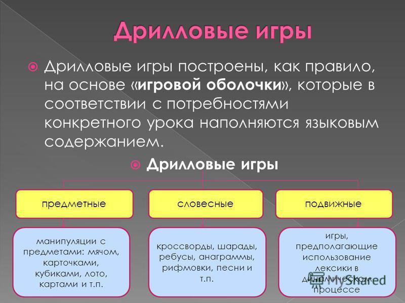 Дрилловые игры построены, как правило, на основе « игровой оболочки », которые в соответствии с потребностями конкретного урока наполняются языковым содержанием. Дрилловые игры предметные словесные подвижные манипуляции с предметами: мячом, карточкам