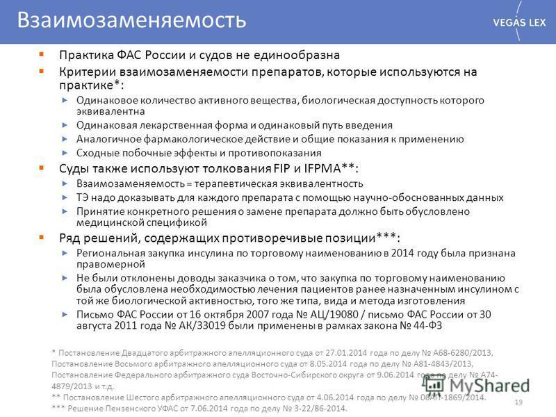 Взаимозаменяемость Практика ФАС России и судов не единообразна Критерии взаимозаменяемости препаратов, которые используются на практике*: Одинаковое количество активного вещества, биологическая доступность которого эквивалентна Одинаковая лекарственн
