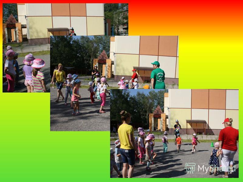 ИГРА «КРАСНЫЙ, ЖЕЛТЫЙ, ЗЕЛЕНЫЙ» (ВСЕ ДЕТИ) Дети – пешеходы. Светофор показывает кружки трёх цветов: * на зелёный сигнал – дети бегают и прыгают, *на жёлтый сигнал светофора – маршируют на месте, *на красный – стоят на месте.