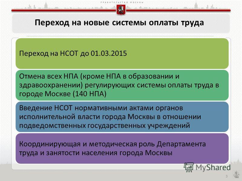 ПРАВИТЕЛЬСТВО МОСКВЫ Переход на новые системы оплаты труда Переход на НСОТ до 01.03.2015 Отмена всех НПА (кроме НПА в образовании и здравоохранении) регулирующих системы оплаты труда в городе Москве (140 НПА) Введение НСОТ нормативными актами органов
