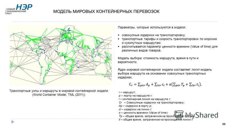 МОДЕЛЬ МИРОВЫХ КОНТЕЙНЕРНЫХ ПЕРЕВОЗОК 50 Транспортные узлы и маршруты в мировой контейнерной модели (World Container Model, TML (2011)) Параметры, которые используются в модели: совокупные издержки на транспортировку; транспортные тарифы и скорость т