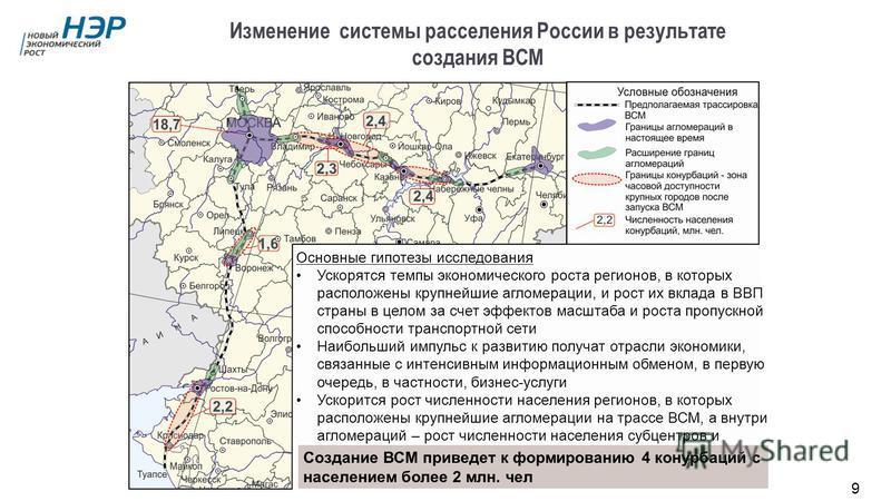 Изменение системы расселения России в результате создания ВСМ Основные гипотезы исследования Ускорятся темпы экономического роста регионов, в которых расположены крупнейшие агломерации, и рост их вклада в ВВП страны в целом за счет эффектов масштаба