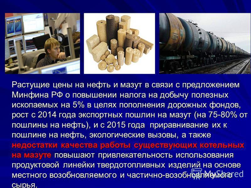 Растущие цены на нефть и мазут в связи с предложением Минфина РФ о повышении налога на добычу полезных ископаемых на 5% в целях пополнения дорожных фондов, рост с 2014 года экспортных пошлин на мазут (на 75-80% от пошлины на нефть), и с 2015 года при