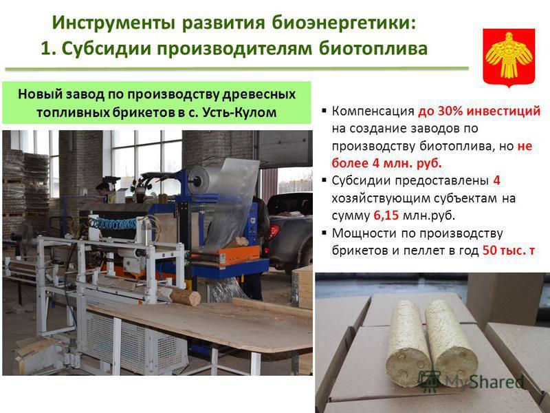 Компенсация до 30% инвестиций на создание заводов по производству биотоплива, но не более 4 млн. руб. Субсидии предоставлены 4 хозяйствующим субъектам на сумму 6,15 млн.руб. Мощности по производству брикетов и пеллет в год 50 тыс. т Инструменты разви