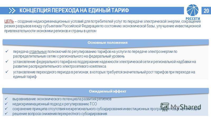 ЦЕЛЬ – создание недискриминационных условий для потребителей услуг по передаче электрической энергии, сокращение резких разрывов между субъектами Российской Федерации по состоянию экономической базы, улучшение инвестиционной привлекательности экономи