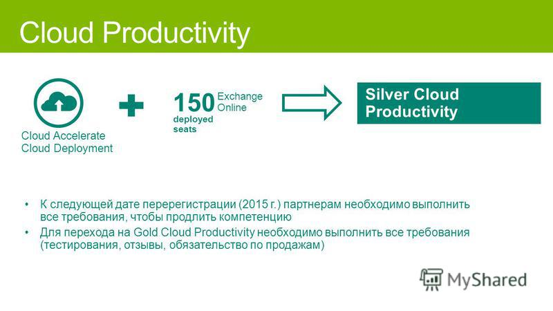 Cloud Accelerate Cloud Deployment 150 Exchange Online deployed seats Silver Cloud Productivity К следующей дате перерегистрации (2015 г.) партнерам необходимо выполнить все требования, чтобы продлить компетенцию Для перехода на Gold Cloud Productivit