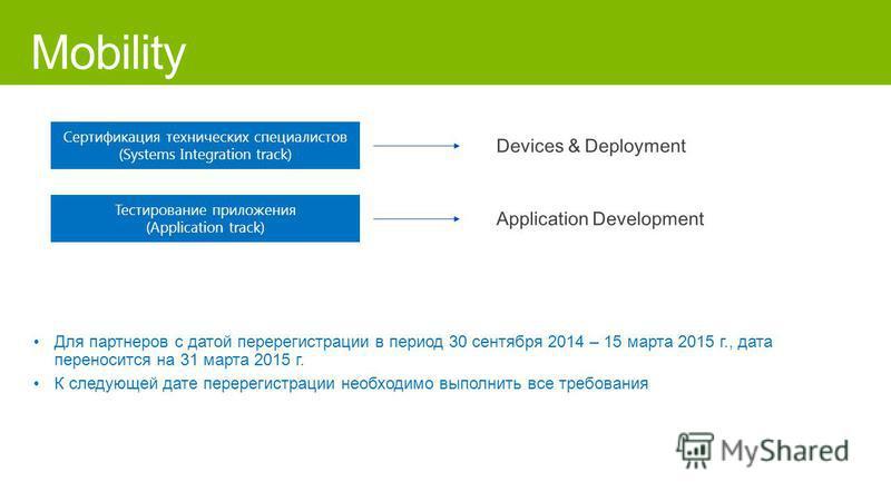 Сертификация технических специалистов (Systems Integration track) Тестирование приложения (Application track) Для партнеров с датой перерегистрации в период 30 сентября 2014 – 15 марта 2015 г., дата переносится на 31 марта 2015 г. К следующей дате пе