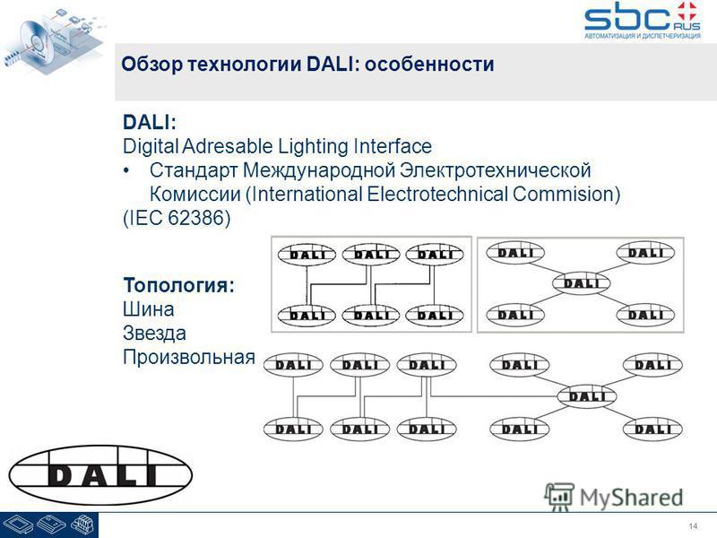14 Обзор технологии DALI: особенности DALI: Digital Adresable Lighting Interface Стандарт Международной Электротехнической Комиссии (International Electrotechnical Commision) (IEC 62386) Топология: Шина Звезда Произвольная