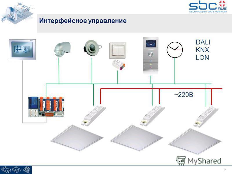 77 Интерфейсное управление DALI KNX LON ~220В