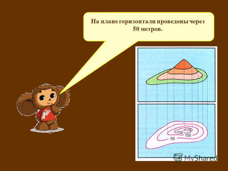 Через сколько метров изображены горизонтали на данном плане? На плане горизонтали проведены через 50 метров.