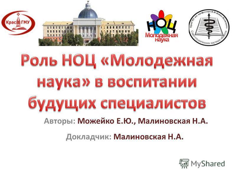 Авторы: Можейко Е.Ю., Малиновская Н.А. Докладчик: Малиновская Н.А.