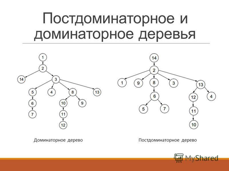 Постдоминаторное и доминаторное деревья Доминаторное дерево Постдоминаторное дерево