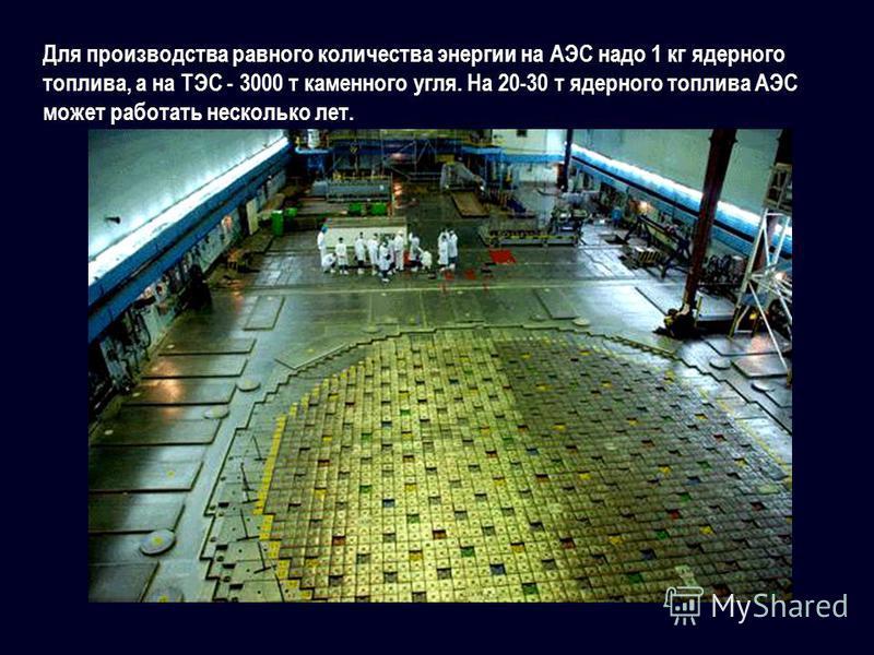 Для производства равного количества энергии на АЭС надо 1 кг ядерного топлива, а на ТЭС - 3000 т каменного угля. На 20-30 т ядерного топлива АЭС может работать несколько лет.