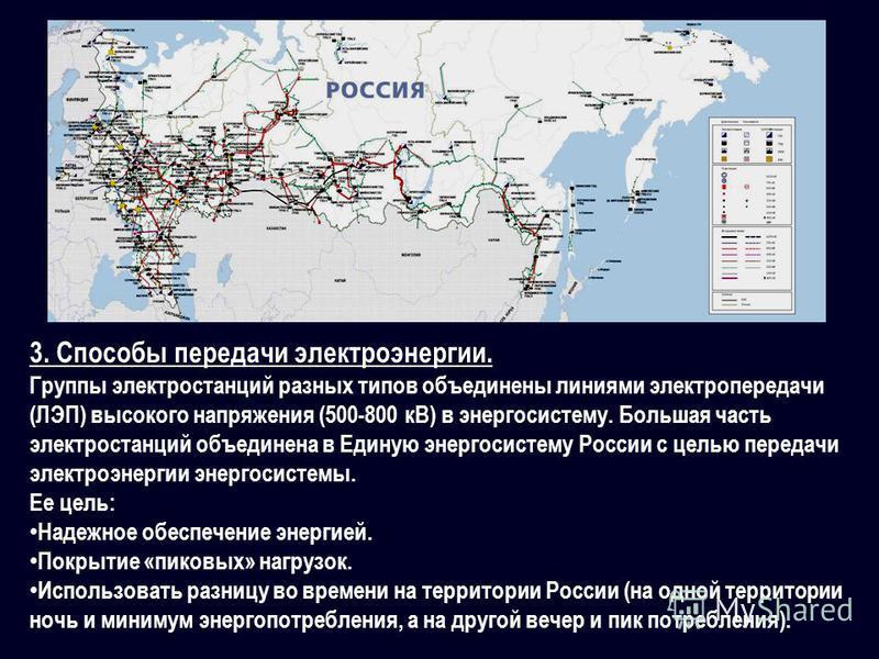 3. Способы передачи электроэнергии. Группы электростанций разных типов объединены линиями электропередачи (ЛЭП) высокого напряжения (500-800 кВ) в энергосистему. Большая часть электростанций объединена в Единую энергосистему России с целью передачи э