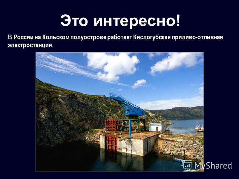 Это интересно! В России на Кольском полуострове работает Кислогубская приливо-отливная электростанция.