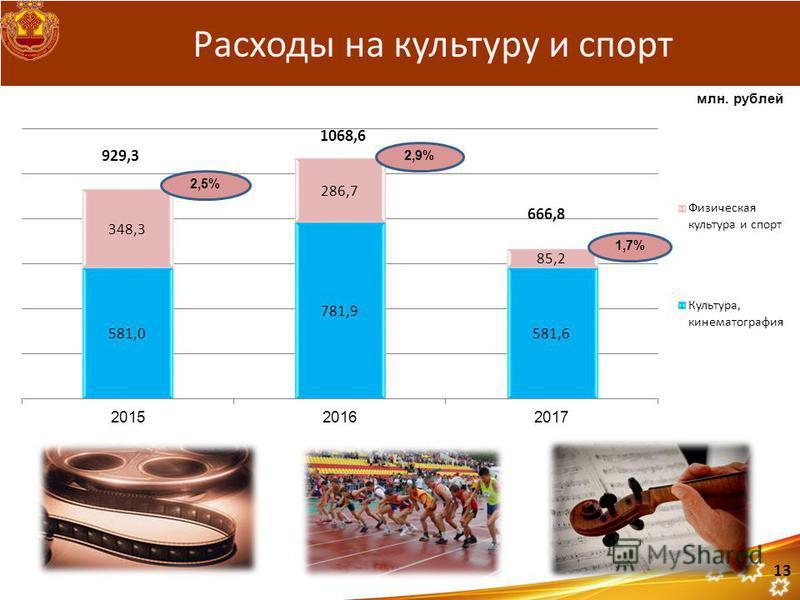 929,3 1068,6 666,8 Расходы на культуру и спорт 2,9% 1,7% 13 2,5% млн. рублей
