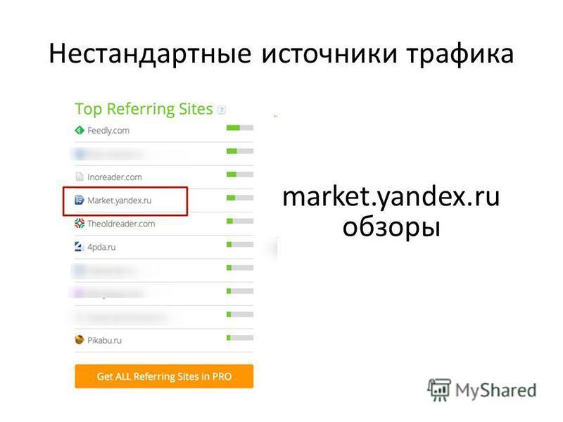 Нестандартные источники трафика market.yandex.ru обзоры