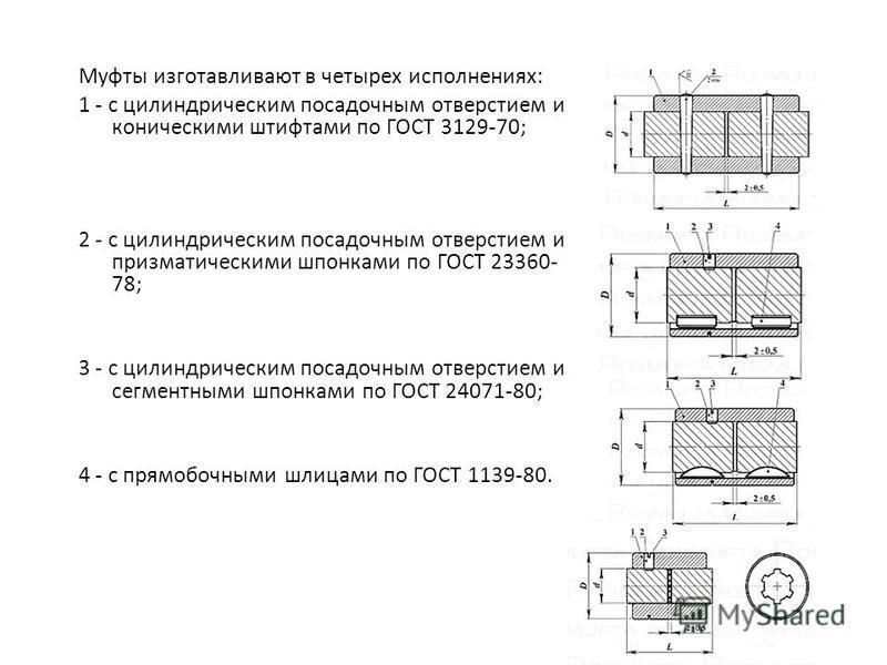 Муфты изготавливают в четырех исполнениях: 1 - с цилиндрическим посадочным отверстием и коническими штифтами по ГОСТ 3129-70; 2 - с цилиндрическим посадочным отверстием и призматическими шпонками по ГОСТ 23360- 78; 3 - с цилиндрическим посадочным отв