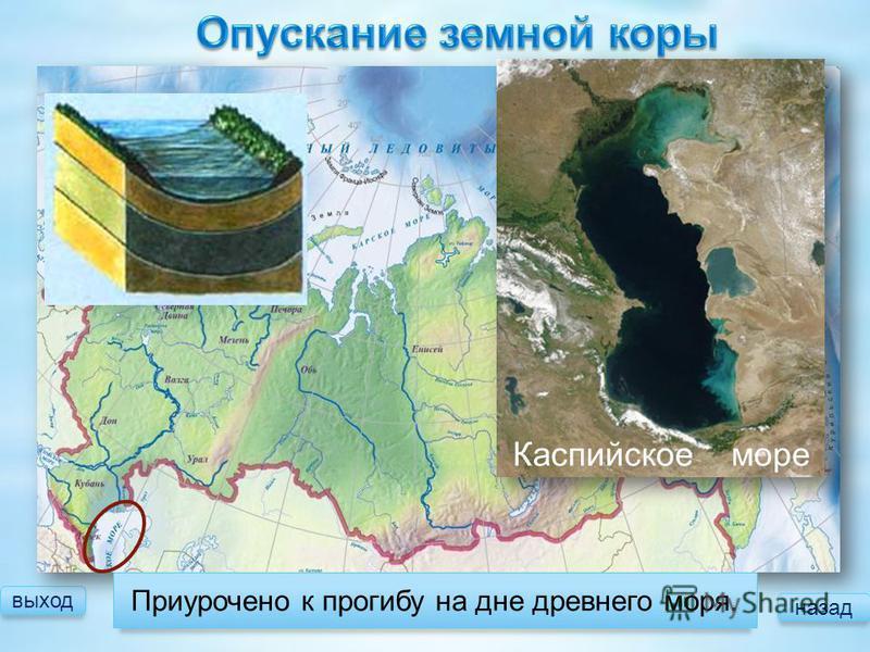 выход Приурочено к прогибу на дне древнего моря. Каспийское море назад