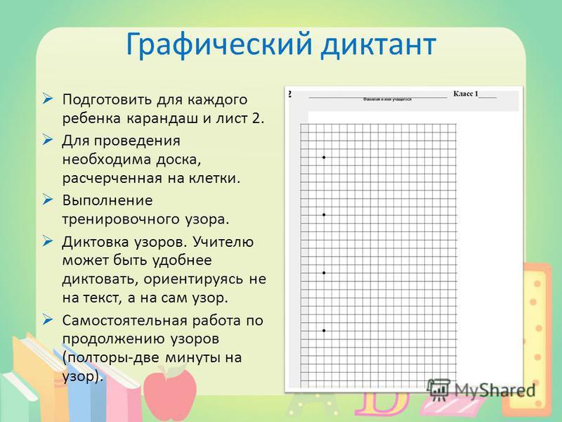 Графический диктант Подготовить для каждого ребенка карандаш и лист 2. Для проведения необходима доска, расчерченная на клетки. Выполнение тренировочного узора. Диктовка узоров. Учителю может быть удобнее диктовать, ориентируясь не на текст, а на сам