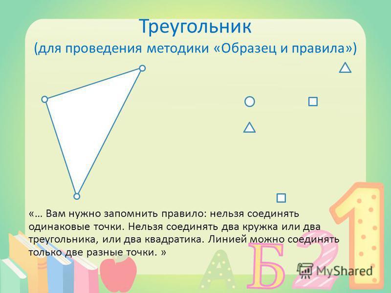 Треугольник (для проведения методики «Образец и правила») «… Вам нужно запомнить правило: нельзя соединять одинаковые точки. Нельзя соединять два кружка или два треугольника, или два квадратика. Линией можно соединять только две разные точки. »
