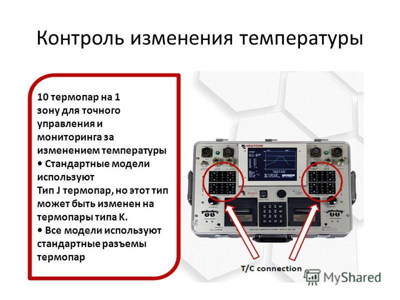 Контроль изменения температуры 10 термопар на 1 зону для точного управления и мониторинга за изменением температуры Стандартные модели используют Тип J термопар, но этот тип может быть изменен на термопары типа K. Все модели используют стандартные ра