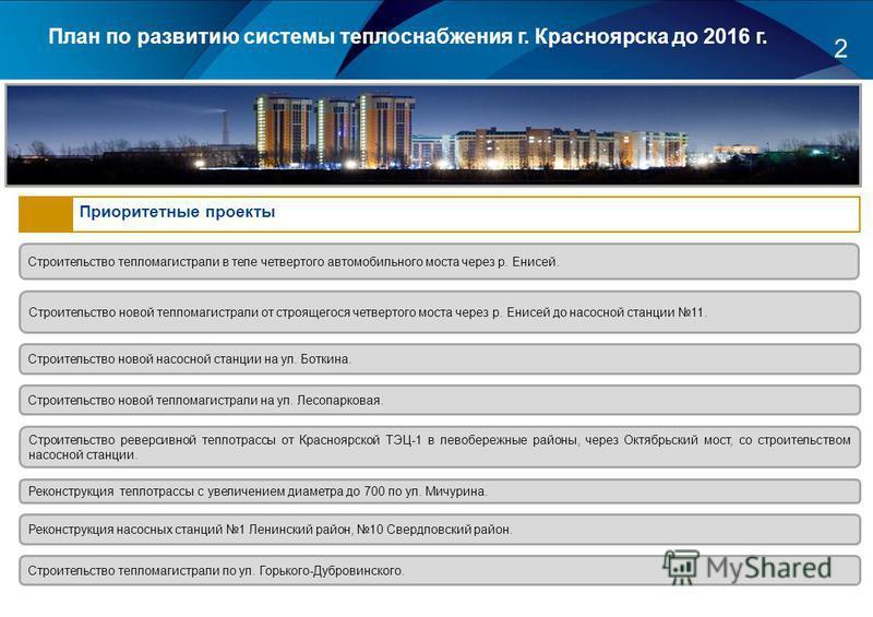 2 План по развитию системы теплоснабжения г. Красноярска до 2016 г. Приоритетные проекты Строительство тепломагистрали в теле четвертого автомобильного моста через р. Енисей. Строительство новой тепломагистрали от строящегося четвертого моста через р