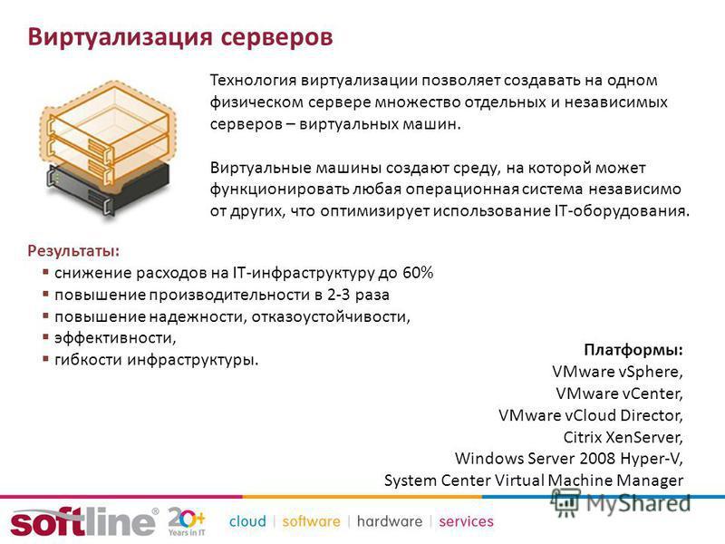 Виртуализация серверов Результаты: снижение расходов на IT-инфраструктуру до 60% повышение производительности в 2-3 раза повышение надежности, отказоустойчивости, эффективности, гибкости инфраструктуры. Технология виртуализации позволяет создавать на