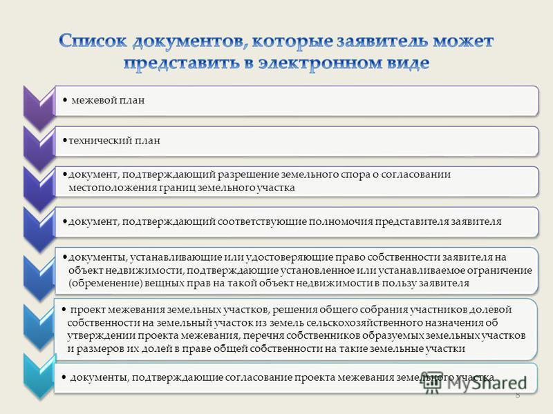 8 межевой план технический план документ, подтверждающий разрешение земельного спора о согласовании местоположения границ земельного участка документ, подтверждающий соответствующие полномочия представителя заявителя документы, устанавливающие или уд