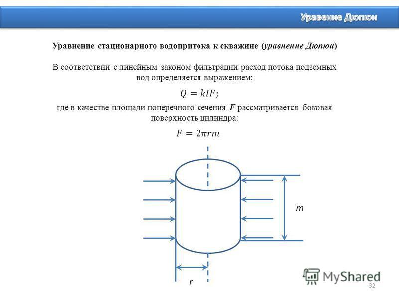 32 Уравнение стационарного водопритока к скважине (уравнение Дюпюи) В соответствии с линейным законом фильтрации расход потока подземных вод определяется выражением: где в качестве площади поперечного сечения F рассматривается боковая поверхность цил