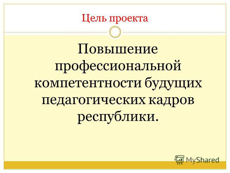 Цель проекта Повышение профессиональной компетентности будущих педагогических кадров республики.
