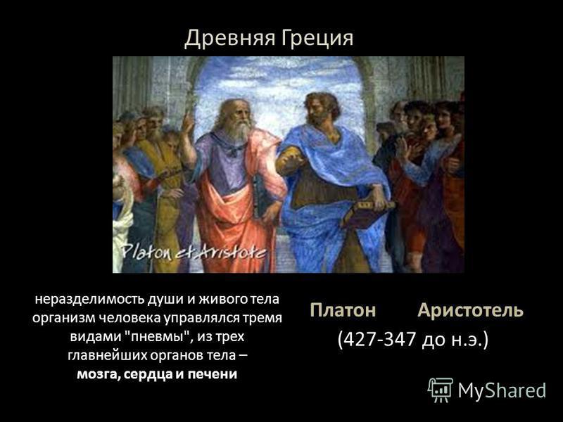 Платон Аристотель (427-347 до н.э.) неразделимость души и живого тела организм человека управлялся тремя видами пневмо, из трех главнейших органов тела – мозга, сердца и печени Древняя Греция