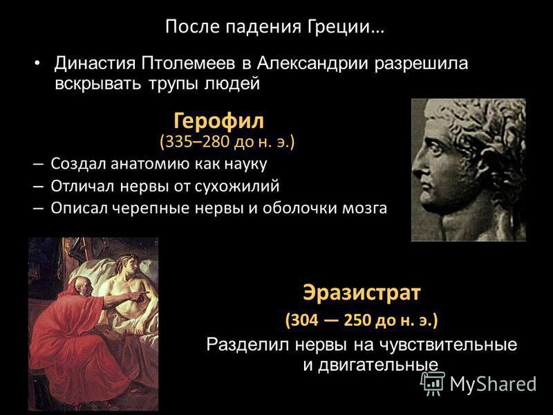 После падения Греции… Герофил (335–280 до н. э.) – Создал анатомию как науку – Отличал нервы от сухожилий – Описал черепные нервы и оболочки мозга Эразистрат (304 250 до н. э.) Разделил нервы на чувствительные и двигательные Династия Птолемеев в Алек