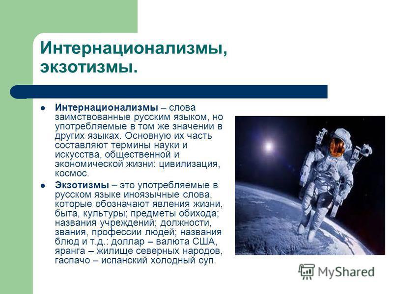 Интернационализмы, экзотизмы. Интернационализмы – слова заимствованные русским языком, но употребляемые в том же значении в других языках. Основную их часть составляют термины науки и искусства, общественной и экономической жизни: цивилизация, космос