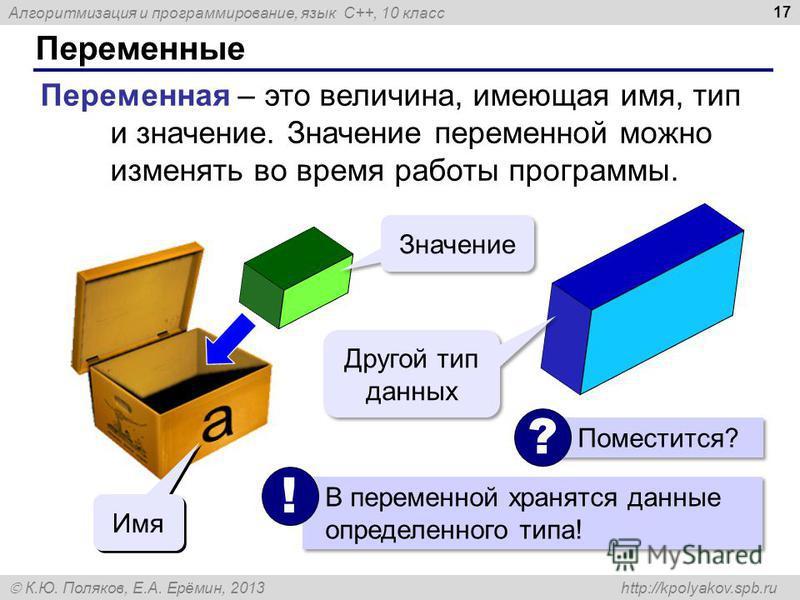 Алгоритмизация и программирование, язык C++, 10 класс К.Ю. Поляков, Е.А. Ерёмин, 2013 http://kpolyakov.spb.ru Переменные 17 Переменная – это величина, имеющая имя, тип и значение. Значение переменной можно изменять во время работы программы. Значение