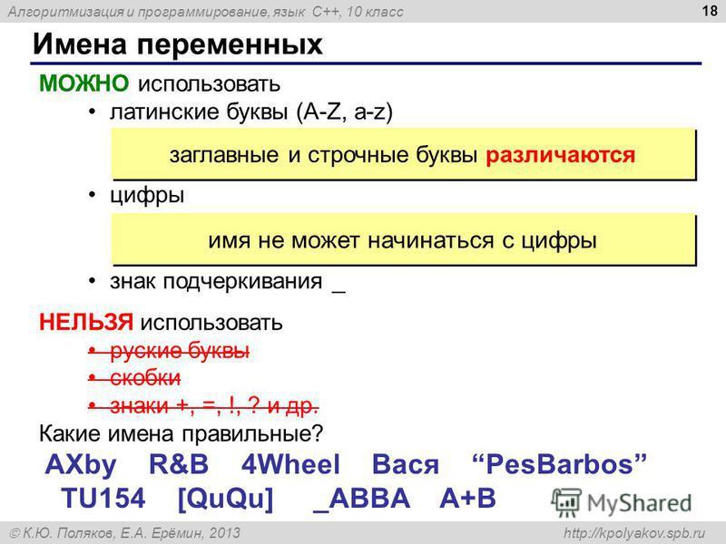 Алгоритмизация и программирование, язык C++, 10 класс К.Ю. Поляков, Е.А. Ерёмин, 2013 http://kpolyakov.spb.ru Имена переменных 18 МОЖНО использовать латинские буквы (A-Z, a-z) цифры знак подчеркивания _ заглавные и строчные буквы различаются НЕЛЬЗЯ и