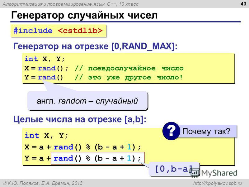 Алгоритмизация и программирование, язык C++, 10 класс К.Ю. Поляков, Е.А. Ерёмин, 2013 http://kpolyakov.spb.ru Генератор случайных чисел 40 Генератор на отрезке [0,RAND_MAX]: int X, Y; X = rand(); // псевдослучайное число Y = rand() // это уже другое