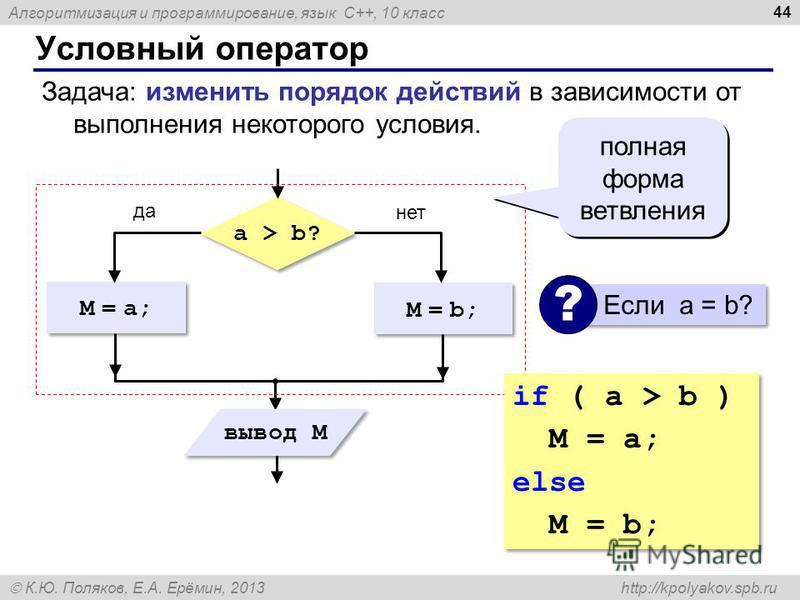 Алгоритмизация и программирование, язык C++, 10 класс К.Ю. Поляков, Е.А. Ерёмин, 2013 http://kpolyakov.spb.ru Условный оператор 44 Задача: изменить порядок действий в зависимости от выполнения некоторого условия. M = a; a > b? M = b; да нет вывод M п