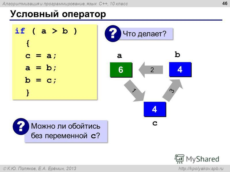 Алгоритмизация и программирование, язык C++, 10 класс К.Ю. Поляков, Е.А. Ерёмин, 2013 http://kpolyakov.spb.ru Условный оператор 46 if ( a > b ) { с = a; a = b; b = c; } if ( a > b ) { с = a; a = b; b = c; } Что делает? ? 4 4 6 6 ? ? 4 4 6 6 4 4 a b 3