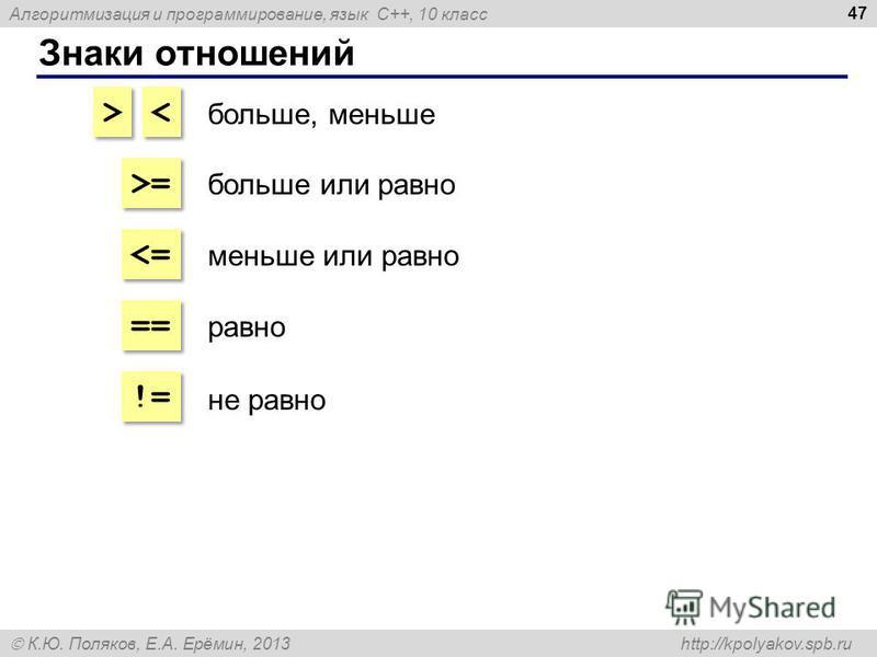 Алгоритмизация и программирование, язык C++, 10 класс К.Ю. Поляков, Е.А. Ерёмин, 2013 http://kpolyakov.spb.ru Знаки отношений 47 > > < < >=>= >=>=