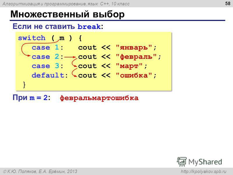 Алгоритмизация и программирование, язык C++, 10 класс К.Ю. Поляков, Е.А. Ерёмин, 2013 http://kpolyakov.spb.ru Множественный выбор 58 switch ( m ) { case 1: cout