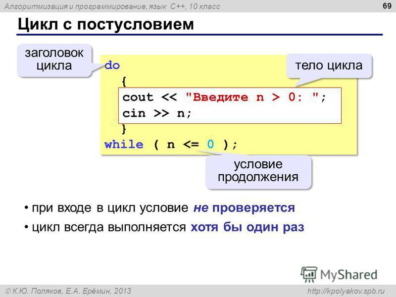Алгоритмизация и программирование, язык C++, 10 класс К.Ю. Поляков, Е.А. Ерёмин, 2013 http://kpolyakov.spb.ru Цикл с постусловием 69 do { } while ( n