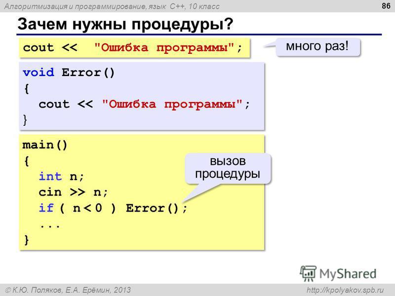 Алгоритмизация и программирование, язык C++, 10 класс К.Ю. Поляков, Е.А. Ерёмин, 2013 http://kpolyakov.spb.ru Зачем нужны процедуры? 86 cout > n; if ( n < 0 ) Error();... } main() { int n; cin >> n; if ( n < 0 ) Error();... } вызов процедуры void Err