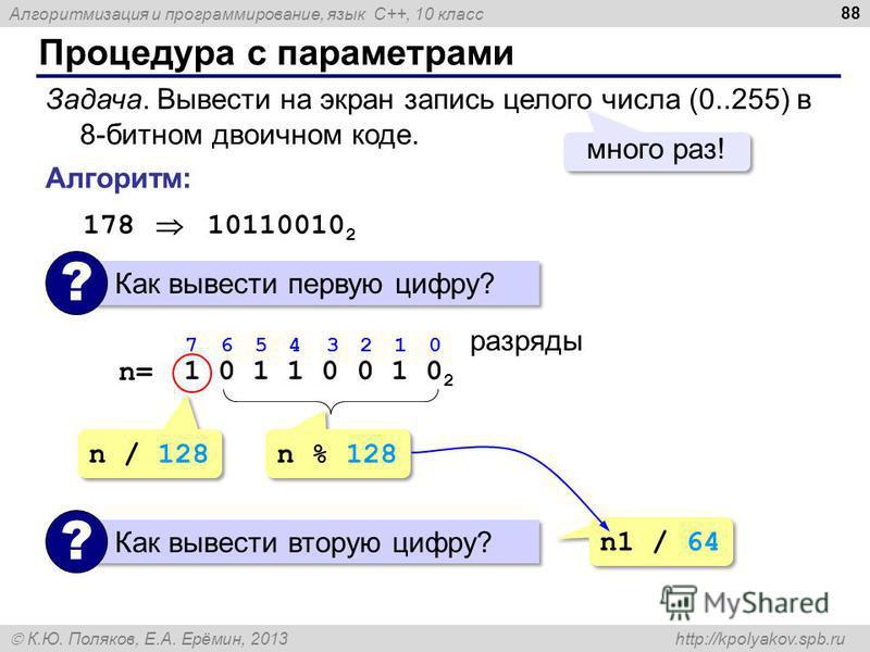 Алгоритмизация и программирование, язык C++, 10 класс К.Ю. Поляков, Е.А. Ерёмин, 2013 http://kpolyakov.spb.ru Процедура с параметрами 88 Задача. Вывести на экран запись целого числа (0..255) в 8-битном двоичном коде. много раз! Алгоритм: 178 10110010