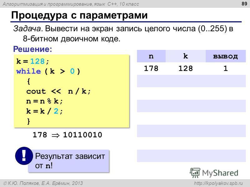 Алгоритмизация и программирование, язык C++, 10 класс К.Ю. Поляков, Е.А. Ерёмин, 2013 http://kpolyakov.spb.ru Процедура с параметрами 89 Задача. Вывести на экран запись целого числа (0..255) в 8-битном двоичном коде. Решение: k = 128; while ( k > 0 )