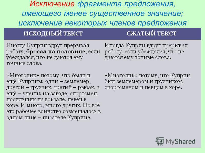 Исключение фрагмента предложения, имеющего менее существенное значение; исключение некоторых членов предложения
