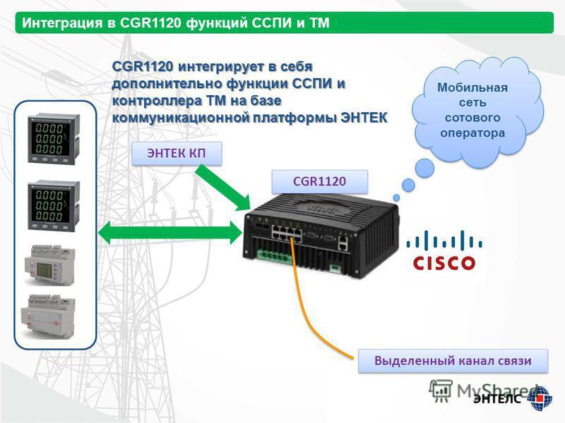 Интеграция в CGR1120 функций ССПИ и ТМ ЭНТЕК КП CGR1120 Мобильная сеть сотового оператора Выделенный канал связи CGR1120 интегрирует в себя дополнительно функции ССПИ и контроллера ТМ на базе коммуникационной платформы ЭНТЕК