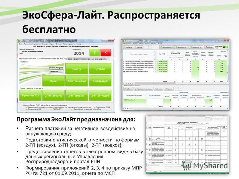 Эко Сфера-Лайт. Распространяется бесплатно Программа Эко Лайт предназначена для: Р асчета платежей за негативное воздействие на окружающую среду; Подготовки статистической отчетности по формам 2-ТП (воздух), 2-ТП (отходы), 2-ТП (водхоз); Предоставлен
